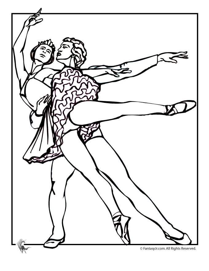 Ballet Couple Coloring Page - Woo! Jr. Kids Activities