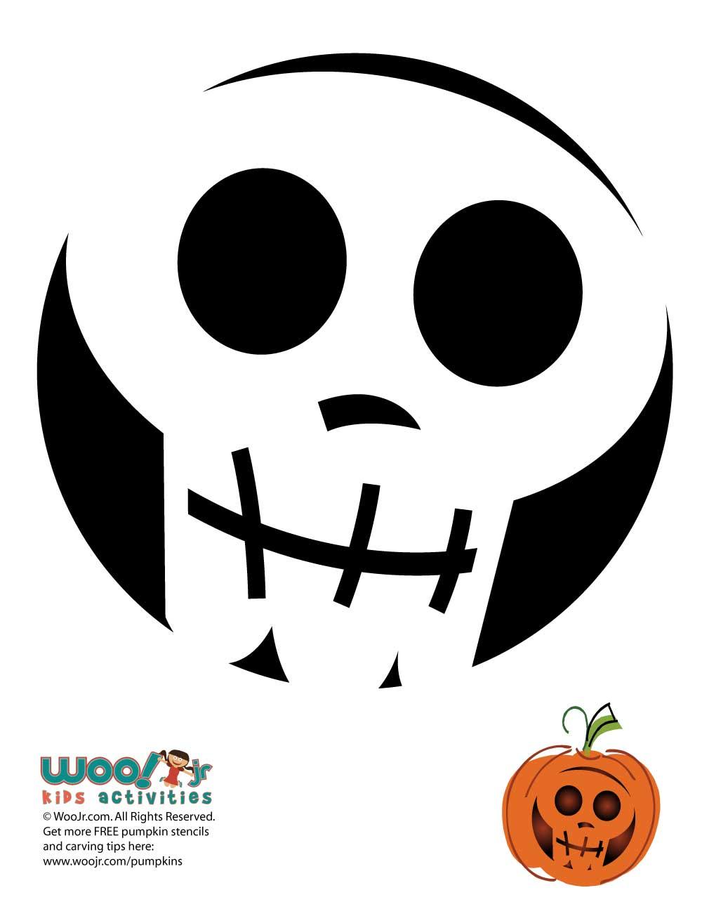 Simple and Easy Skull Pumpkin Stencil | Woo! Jr. Kids ...