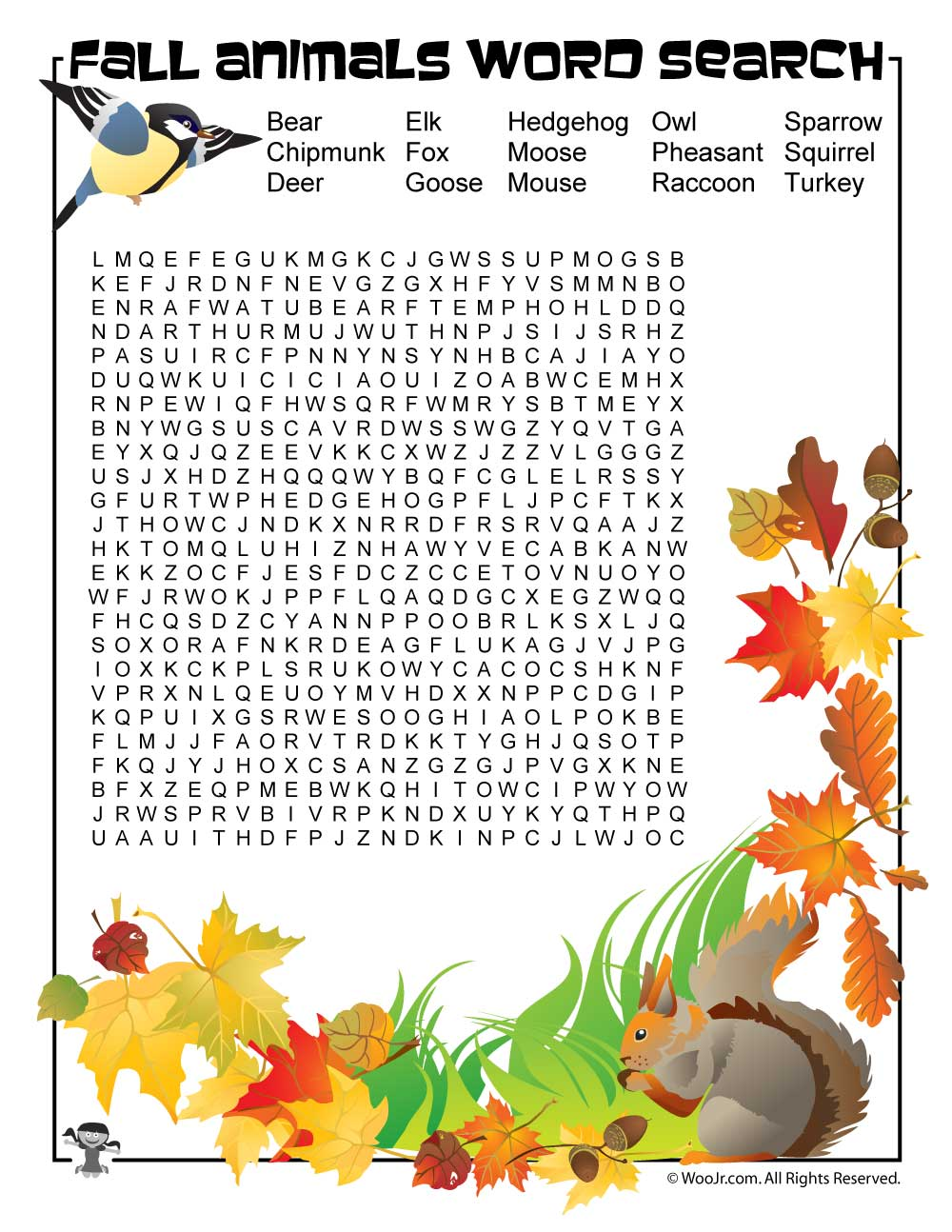 Fall Animals Word Search | Woo! Jr. Kids Activities
