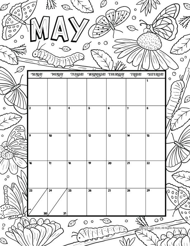 May 2021 Printable Calendar Page | Woo! Jr. Kids Activities